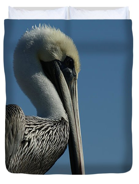 Pelican Profile 2 Duvet Cover by Ernie Echols