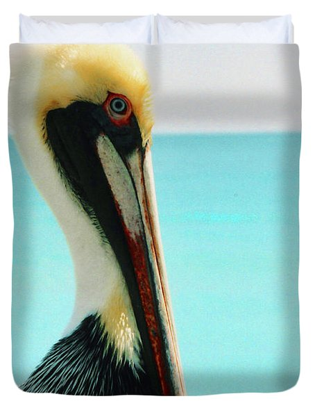 Pelican Profile And Water Duvet Cover