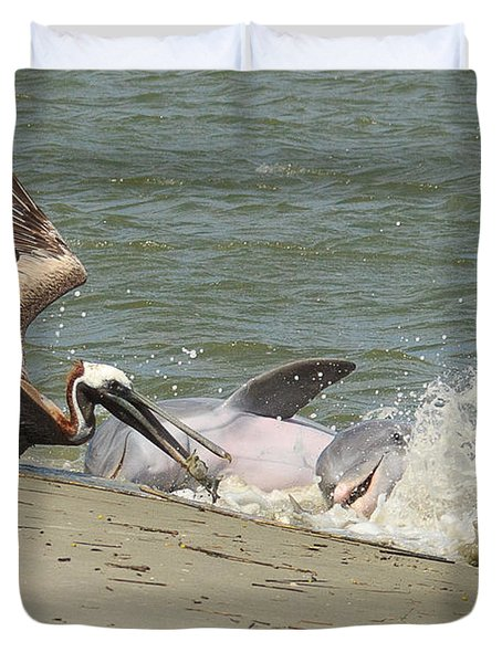 Pelican Steals The Fish Duvet Cover