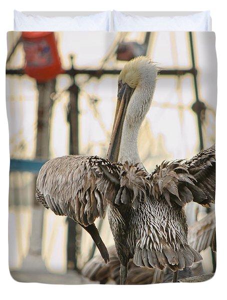 Pelican Strut Duvet Cover by Donna Greene