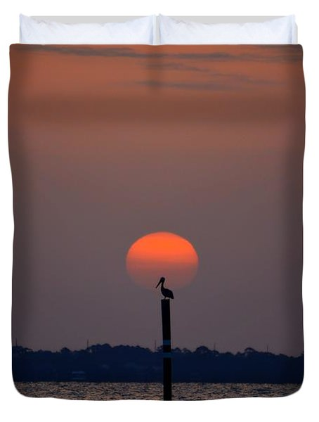 Pelican Sunrise Silhouette On Sound Duvet Cover by Jeff at JSJ Photography
