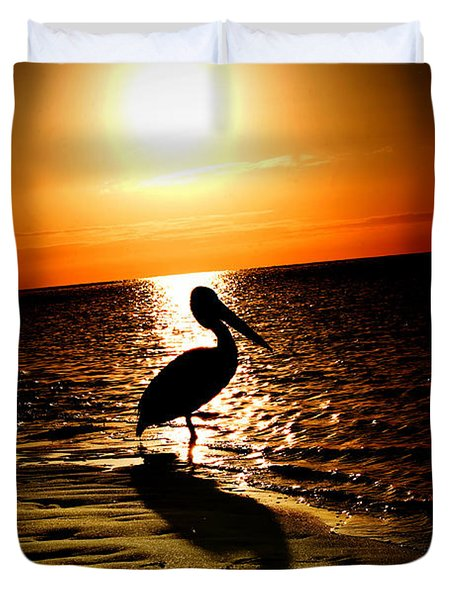 Pelican Sunrise Duvet Cover by Yew Kwang