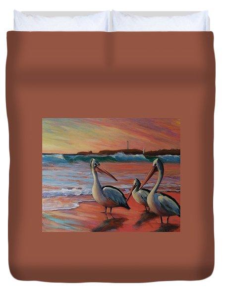 Pelican Sunset Duvet Cover