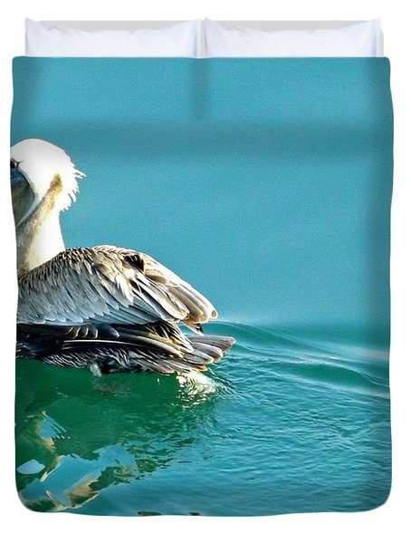 Pelican Swimming Duvet Cover by Clare Bevan