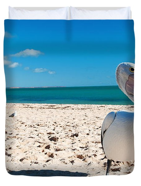 Pelican Under Blue Sky Duvet Cover
