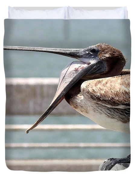 Pelican Yawn - Digital Painting Duvet Cover by Carol Groenen