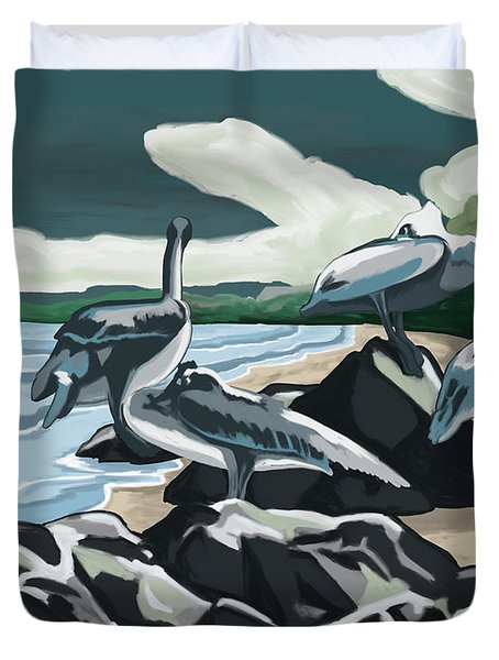 Duvet Cover featuring the painting Pelicans And Friends At Seashore by Tim Gilliland