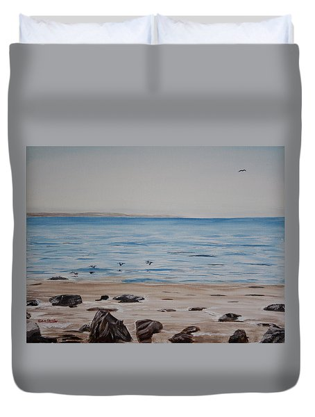 Pelicans At El Capitan Duvet Cover