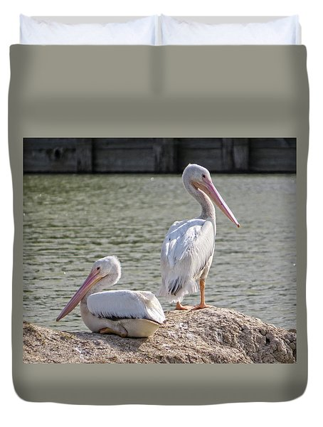Duvet Cover featuring the photograph Pelicans By The Pair by Ella Kaye Dickey