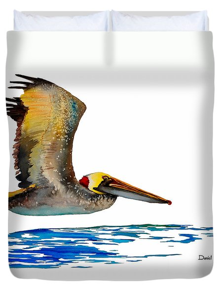 Da137 Pelican Over Water By Daniel Adams Duvet Cover
