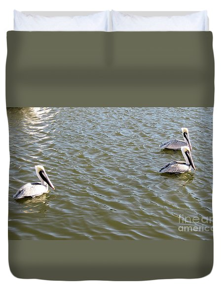Duvet Cover featuring the photograph Pelicans In Florida by Oksana Semenchenko