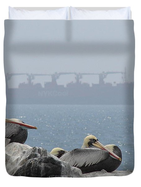 Pelicans In The Mist Duvet Cover by Ramona Johnston