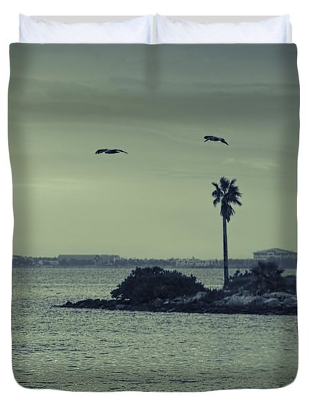 Pelicants And Palm Duvet Cover by Marvin Spates