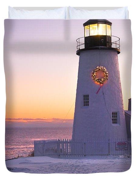 Pemaquid Point Lighthouse Christmas Snow Wreath Maine Duvet Cover
