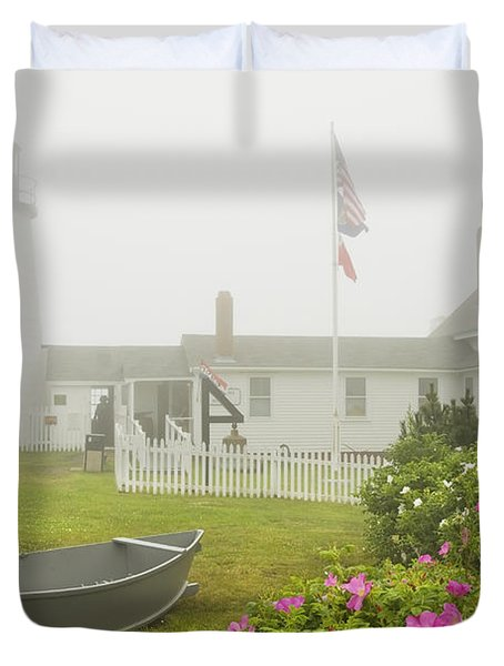 Pemaquid Point Lighthouse In Fog Maine Prints Duvet Cover