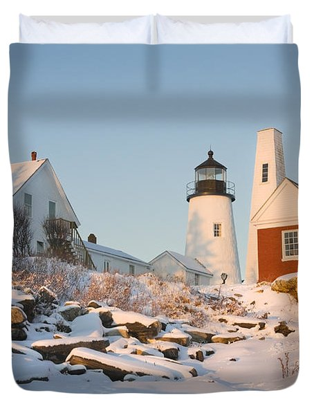 Pemaquid Point Lighthouse Winter In Maine  Duvet Cover by Keith Webber Jr