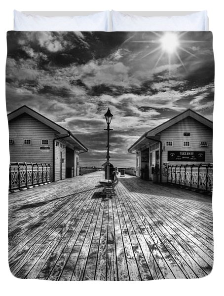 Penarth Pier 2 Monochrome Duvet Cover
