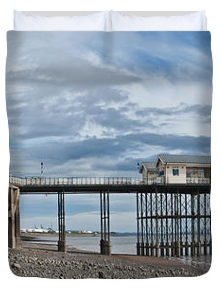 Penarth Pier Panorama 1 Duvet Cover