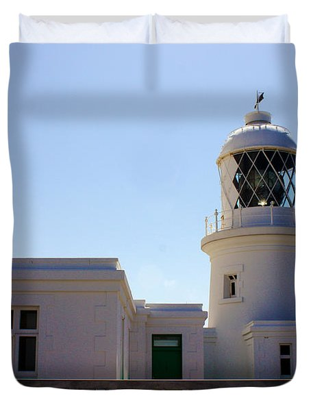 Pendeen Lighthouse Cornwall Duvet Cover by Terri Waters