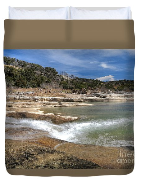 Duvet Cover featuring the photograph Pendernales Falls Texas by Martin Konopacki