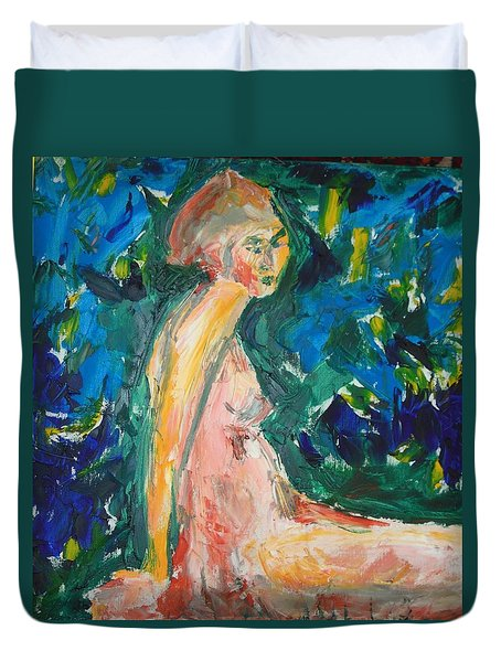 Duvet Cover featuring the painting Penelope Silenced by Esther Newman-Cohen