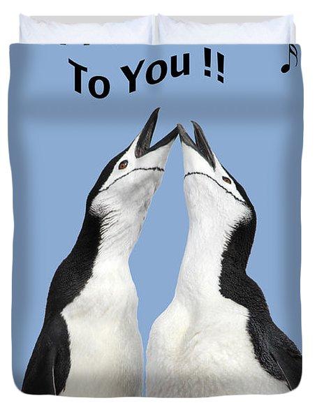 Penguin Birthday Card Duvet Cover