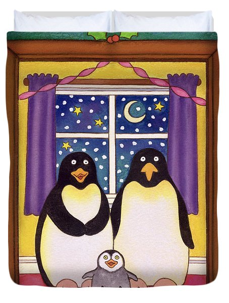 Penguin Family Christmas Duvet Cover by Cathy Baxter