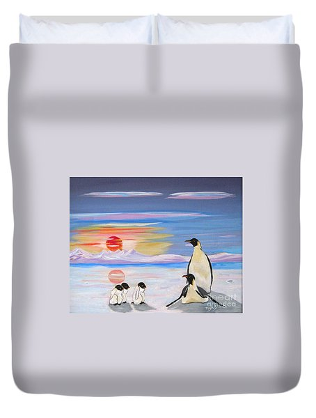Penguin Family Duvet Cover by Phyllis Kaltenbach