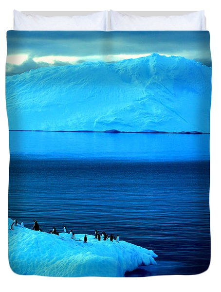 Penguins On Iceberg Duvet Cover by Amanda Stadther