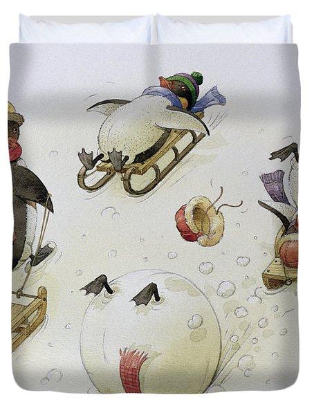 Penguins Sledging Duvet Cover