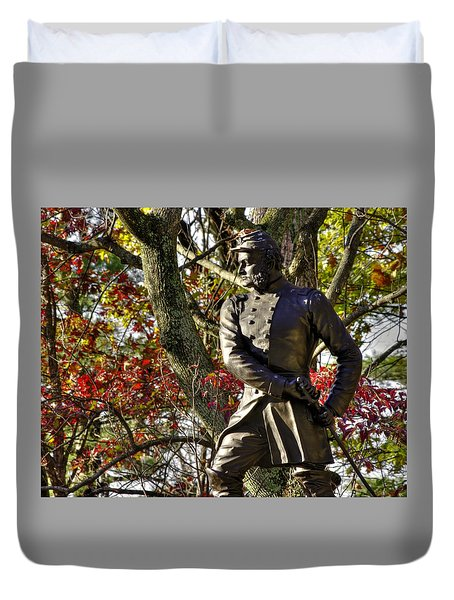 Pennsylvania At Gettysburg - Col Strong Vincent 83rd Pa Volunteer Infantry Close-2b Little Round Top Duvet Cover by Michael Mazaika