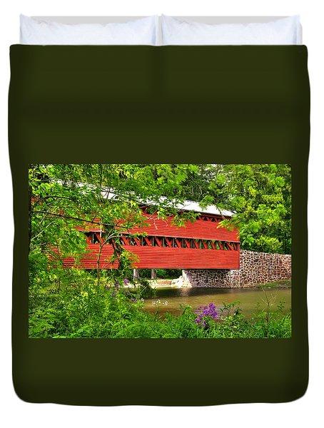 Pennsylvania Country Roads - Sachs Covered Bridge Over Marsh Creek-3b - Shade Of Spring Adams County Duvet Cover