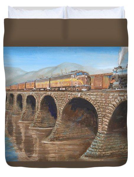 Pennsylvania Railroad On The Rockville Bridge Duvet Cover by Christopher Jenkins