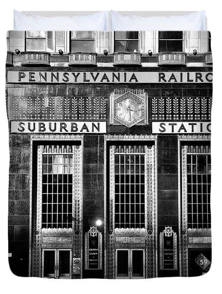 Pennsylvania Railroad Suburban Station In Black And White Duvet Cover