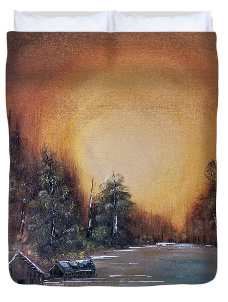 Pennsylvania Shenango Dawn In Oil Duvet Cover by Janice Rae Pariza