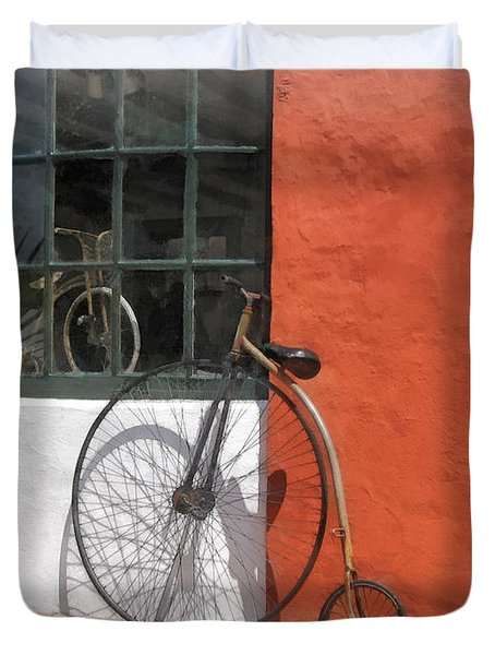 Penny-farthing In Front Of Bike Shop Duvet Cover by Susan Savad