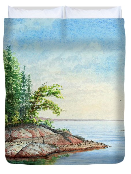 Duvet Cover featuring the painting Penobscot Inlet by Roger Rockefeller
