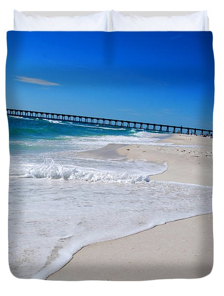 Pensacola Peir Duvet Cover by Linda Mesibov