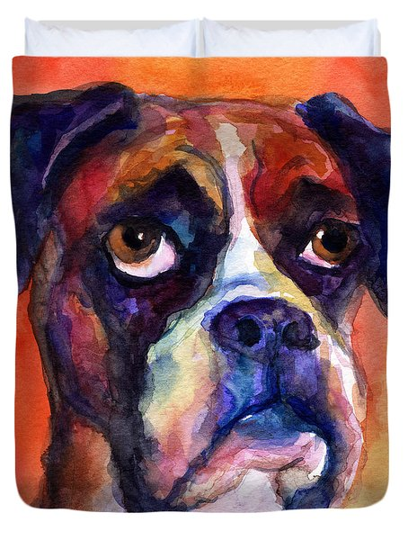 pensive Boxer Dog pop art painting Duvet Cover