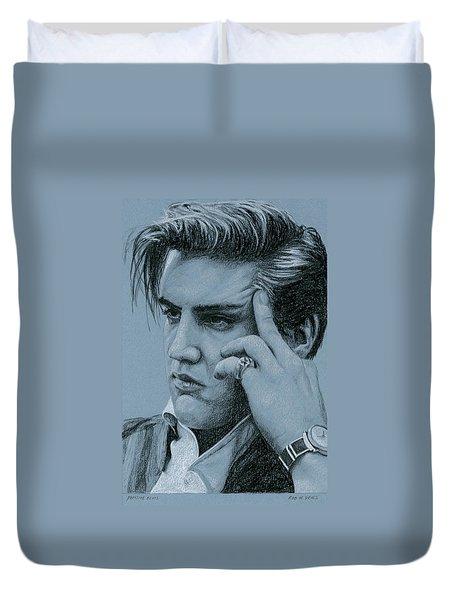 Pensive Elvis Duvet Cover by Rob De Vries