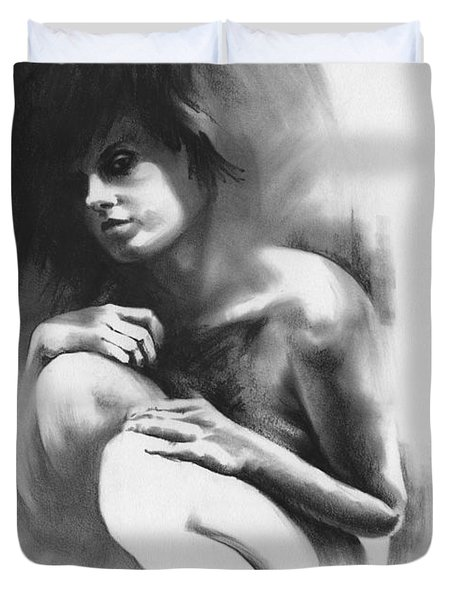 Duvet Cover featuring the drawing Pensive by Paul Davenport