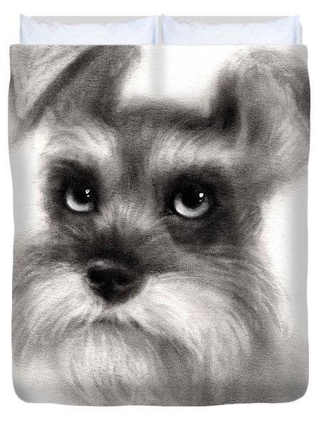 Pensive Schnauzer Dog Painting Duvet Cover by Svetlana Novikova