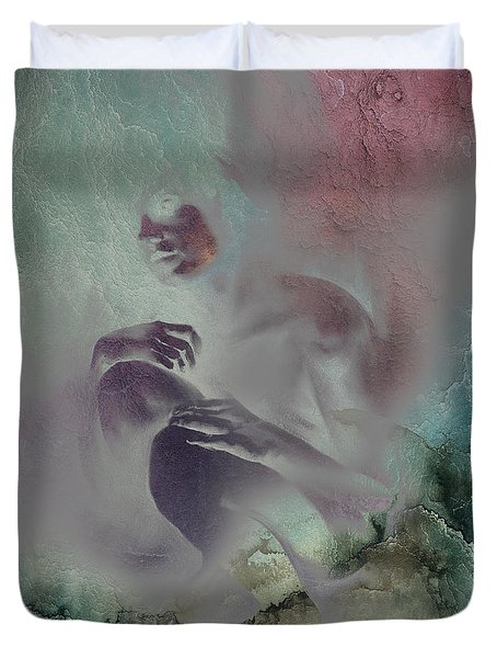 Duvet Cover featuring the drawing Pensive With Texture 2 by Paul Davenport