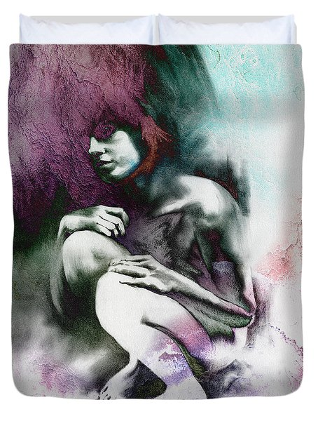 Duvet Cover featuring the drawing Pensive With Texture by Paul Davenport