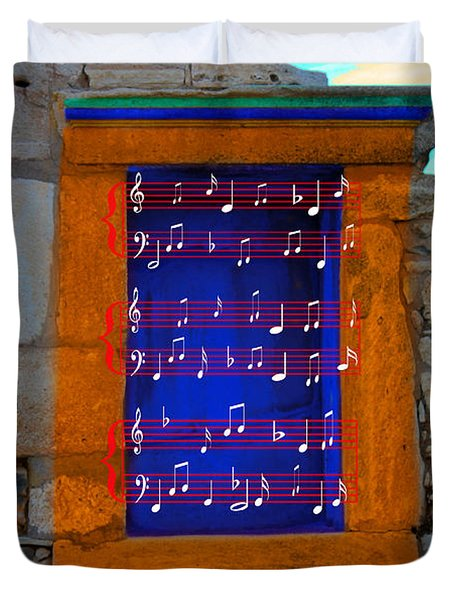 Pentagram Window At Apollo Duvet Cover by Augusta Stylianou