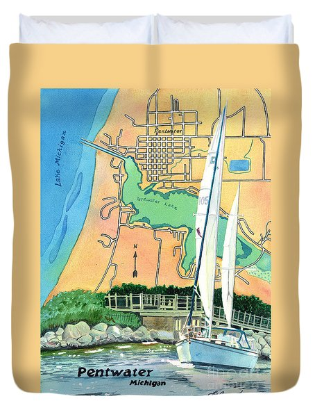 Duvet Cover featuring the painting Pentwater Treasure Map by LeAnne Sowa