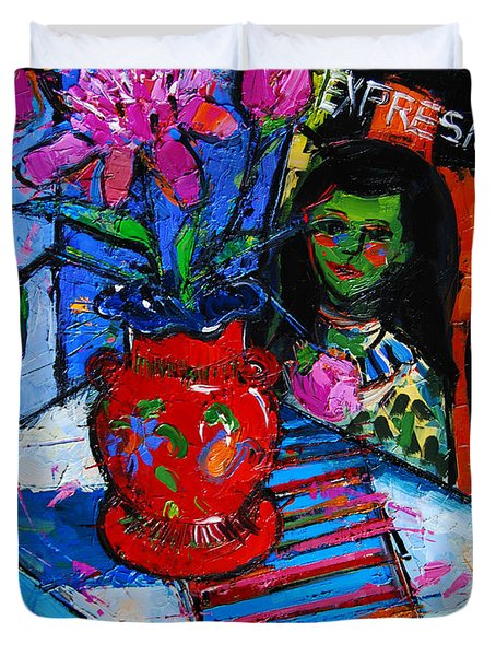 Peonies And Art Book Duvet Cover