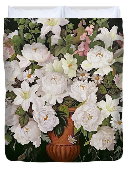 Peonies And Wisteria Duvet Cover by Lizzie Riches