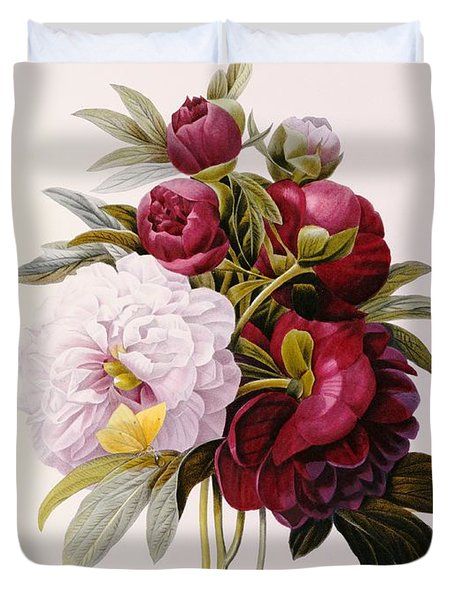 Peonies Engraved By Prevost Duvet Cover by Pierre Joseph Redoute