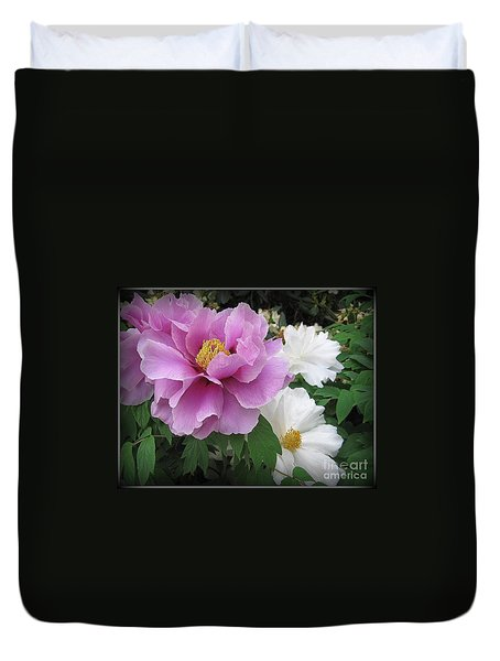 Peonies In White And Lavender Duvet Cover by Dora Sofia Caputo Photographic Art and Design